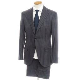 【中古】インベストメント クロージング INVESTMENT CLOTHING ストライプ ウール 3つボタンスーツ ダークグレー×ブルー【サイズM位】【GRY】【A/W】【状態ランクB】【メンズ】【10402-955751】[2110APD]
