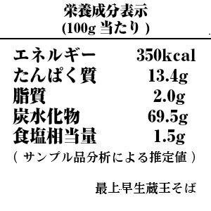 最上早生蔵王そば-栄養成分表示