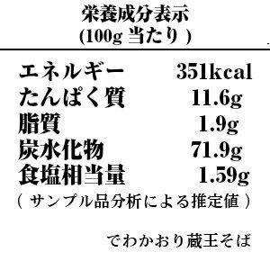 でわかおり蔵王そば-栄養成分表示