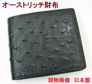 44e2baa661ca オーストリッチ財布 無双札入れ 日本製 黒2【楽ギフ_包装】【楽ギフ_包装選択】【送料無料】