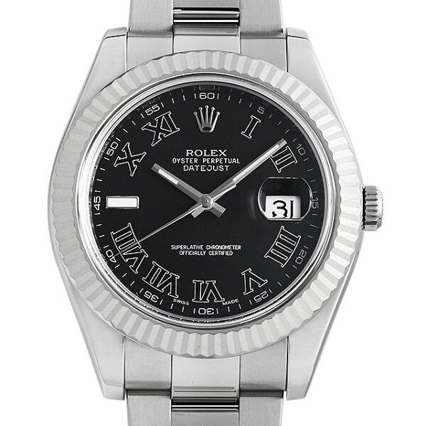 60回払い無金利 ロレックスデイトジャストII116334ブラック/ローマG番メンズ(0063ROAU0763) 中古  腕時