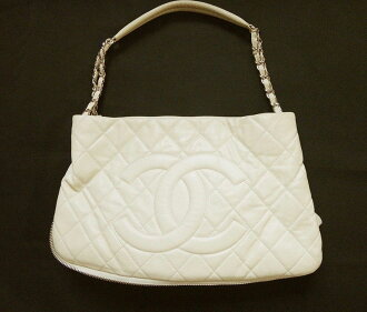 CHANEL Chanel chain bag caviar skin cream ladies bag handbag bag satchel bag