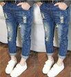 キッズ デニムズボン 人気デニムパンツ ダメージジーンズ 100〜140サイズ 新品未使用品 t-030△△w4675
