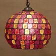 【Atelier Glass Lamp 】ヨーロピアンテースト アトリエグラス ランプ バルーンPINK MULTI 新品未使用品 t-003△△