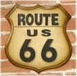 【Antique ITEM】とってもお洒落な アンティークプレートダイカット ルート66 Route66 新品未使用品 t-003△△nf934