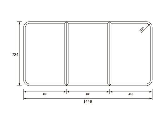 パナソニック Panasonic(松下電工 ナショナル) 風呂ふた(ふろふた フロフタ) 組みふた GZ964C 8GZ964の代替品) 724×1449mm