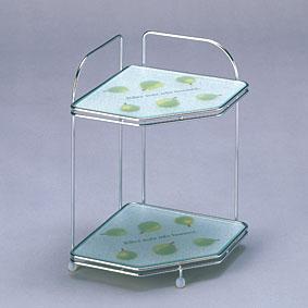 キッチン収納Belcaコーナーラック強化ガラス製KWR-CL