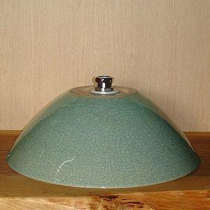 洗面ボウル信楽焼(和風陶器製)青貫入そり型(手洗い鉢/洗面鉢/洗面ボール)小サイズ26cm