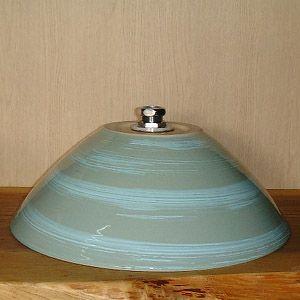 洗面ボウル信楽焼(和風陶器製)青磁刷毛目そり型(手洗い鉢/洗面鉢/洗面ボール)小サイズ26cm