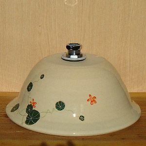 洗面ボウル信楽焼(和風陶器製)グリーンそり型(絵付け)(手洗い鉢/洗面鉢/洗面ボール)中サイズ34cm