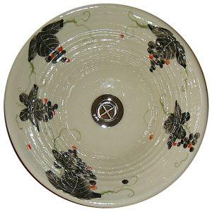 洗面ボウル信楽焼(和風陶器製)墨絵ぶどうそり型(絵付け)(手洗い鉢/洗面鉢/洗面ボール)小サイズ30cm