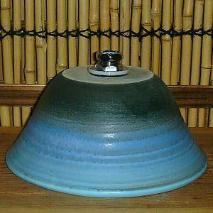 洗面ボウル信楽焼(和風陶器製)ブルー窯変ろくろ目(手洗い鉢/洗面鉢/洗面ボール)