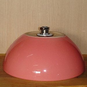 洗面ボウル信楽焼(和風陶器製)ピンクボウル型(手洗い鉢/洗面鉢/洗面ボール)