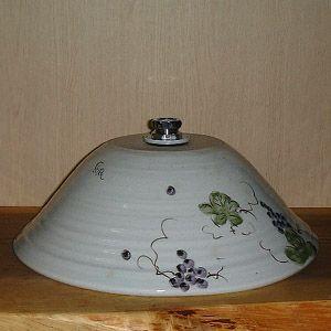 洗面ボウル信楽焼(和風陶器製)ぶどう絵そり型(絵付け)(手洗い鉢/洗面鉢/洗面ボール)大サイズ40cm