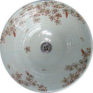 洗面ボウル信楽焼(和風陶器製)赤桜そり型(絵付け)(手洗い鉢/洗面鉢/洗面ボール)大サイズ40cm