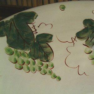 洗面ボウル信楽焼(和風陶器製)マスカットそり型(絵付け)(手洗い鉢/洗面鉢/洗面ボール)ミニサイズ26cm