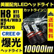 LED,ヘッドライト,バルブ,CREE,LEDヘッドライト,H8,H11,H16,HB4,HB3,H10,10000ルーメン,10000lm,1年保証,送料無料