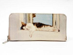 0bcece7c7f8f マンハッタナーズ牛皮ラウンドファスナー長財布よい眠り (75-1017-CHP)|Manhattaner's マンハッタナーズ| 猫 財布 財布 猫  ねこ ネコ|革 財布 サイフ|