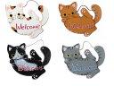 ねころび猫Welcomeボードやまねこ(やまねみえこ)猫のウェルカムボード|やまねこ 手作り猫グッズ| 猫グッズ 猫雑貨 猫 ねこ ネコ|ドアプレート 看板|