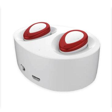 【あす楽対応】 Bluetooth カナル ワイヤレス イヤホン ホワイト/レッド マイク内蔵 ハンズフリー iPhone Android Bluetooth4.1 ステレオ ヘッドセット 充電収納ケース付き【トレーニング ドライブ  ウォーキング デスクワーク 作業中 通勤 通学 スポーツ等に!】