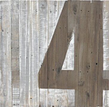 ウッドサインボード No.4 リサイクルウッド アンティーク レトロ オブジェ カフェ アート 壁掛 ウォールデコ プレート ウェルカムボード インテリア 数字 アメリカン雑貨 カントリー雑貨 看板 木製