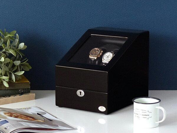 ワインディングマシーン2本巻ブラック×ブラックAbies(アビエス)2連ウォッチワインダー腕時計ワインディングマシン2本4本時計