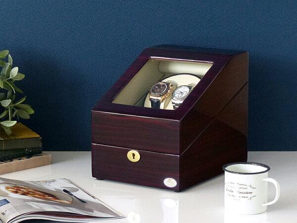 ワインディングマシーン2本巻ゼブラウッド×アイボリーAbies(アビエス)2連腕時計自動巻きワインディングマシン2本1本4本時計