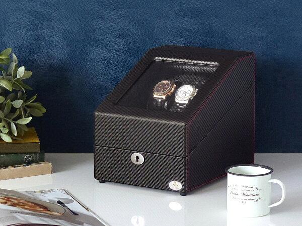 ワインディングマシーン2本巻カーボン調Abies(アビエス)ワインディングマシン2連ウォッチワインダー2本4本時計腕時計自動巻き