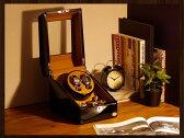 ワインディングマシーン 2本巻 ブラック × キャメル Abies(アビエス) マブチモーター ウォッチワインダー 2連 腕時計 自動巻き ワインディングマシン ウォッチケース 時計ケース ワインダー クリスマス ギフト ウォッチスタンド ディスプレイ