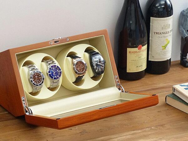 Abiesカペラワインディングマシーン4本巻アッシュ×アイボリー天然木使用4連ウォッチワインダー腕時計自動巻きワインディングマシ