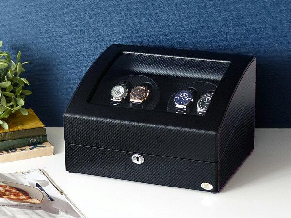 ワインディングマシーン4本巻カーボン調Abies(アビエス)ワインダーウォッチワインダー4連ワインディングマシン腕時計自動巻きウ