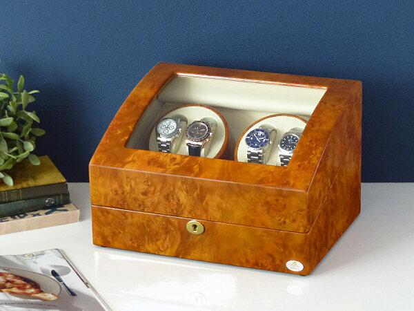 ワインディングマシーン4本巻ライトブラウンAbies(アビエス)ワインダー4連腕時計自動巻きワインディングマシン2本3本4本時計