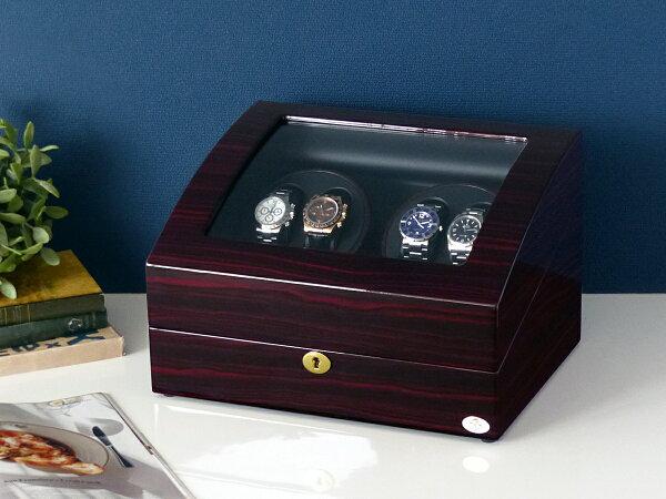 ワインディングマシーン4本巻ゼブラウッド×ブラックAbies(アビエス)4連腕時計ワインディングマシン自動巻きウォッチケース2本