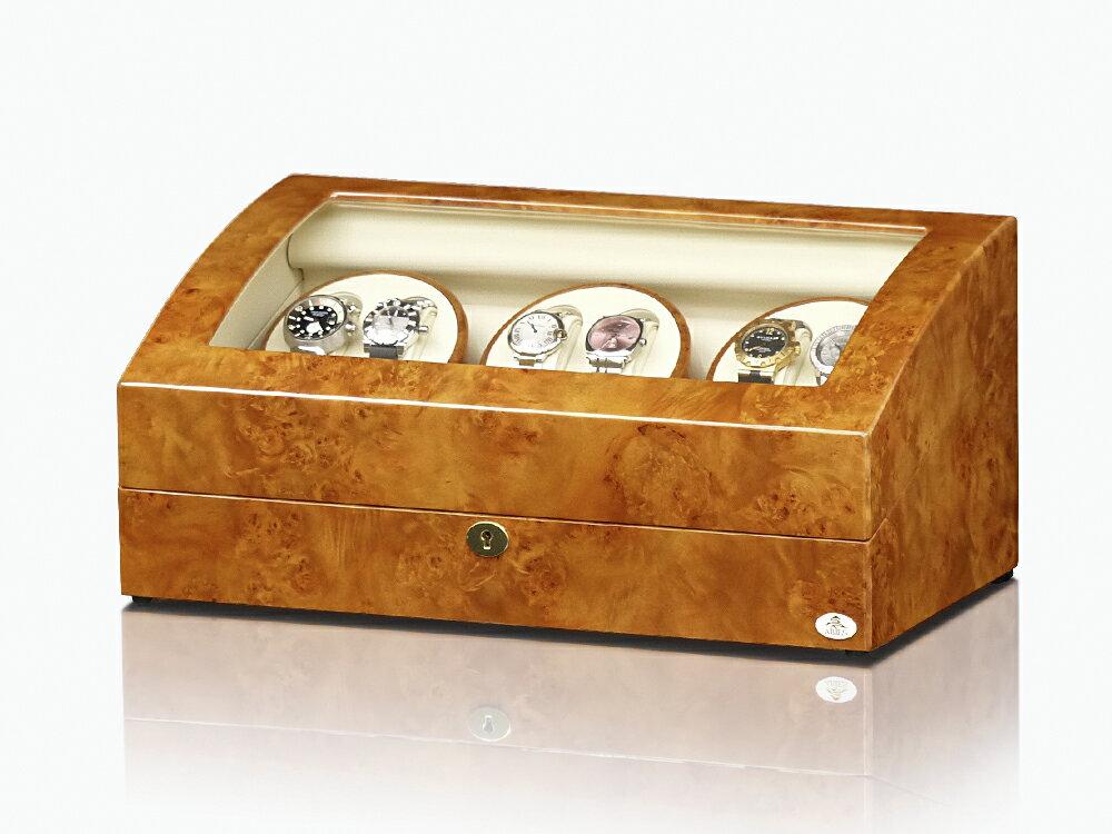ワインディングマシーン 6本巻 ライトブラウン Abies(アビエス) ウォッチワインダー マブチモーター 6連 腕時計 ワインディングマシン 自動巻き ウォッチケース 時計ケース ワインダー クリスマス 父の日 ギフト ウォッチスタンド ディスプレイ プレゼント