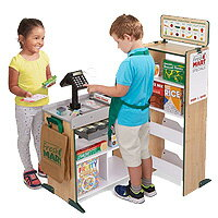 【在庫有り】メリッサ & ダグ フレッシュ マート グローサリー ストア 木製のグローサリー ストア 木製 バーコードリーダー お買い物ごっこ ごっこ遊び ままごと 組み立て 知育玩具 遊具 お店屋さん Melissa & Doug Fresh Mart Grocery Store
