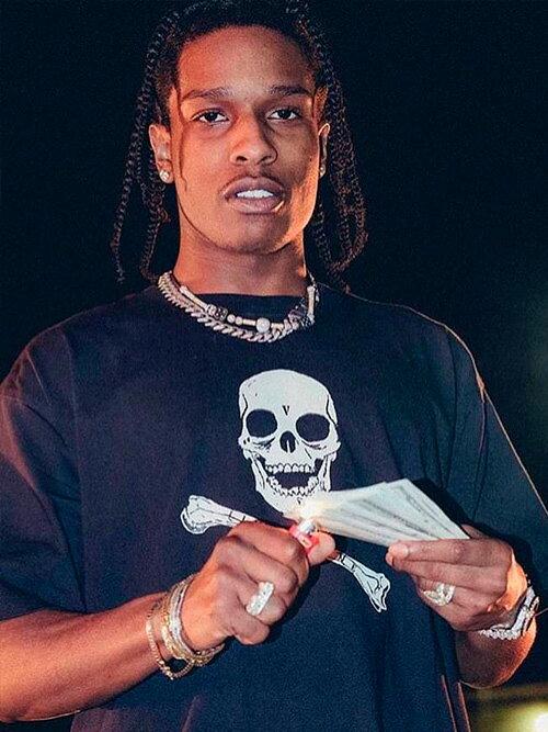 トップス, Tシャツ・カットソー VLONE T Skull Bnoe T-SHIRT SS TEE BLACKWHITE AAP Mob ASAP BARI Ian Connor Kanye West SKULLS-N-BONES-T