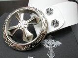 サイバークラウンクロスレザーベルトCBT-001(丸型SL)ホワイト【メンズ】【20本限定生産!】