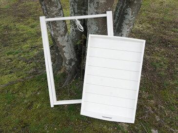 白 スタンド付きトレー 足付き木製お盆 サイドテーブル折畳み アウトドア キャンプ パーティ イベント ホワイト