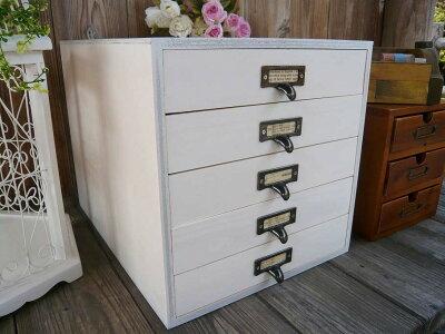 実用、インテリアに◎木製引出し*白5段木製書類ケース◇A4サイズ収納可能◇アンティーク風