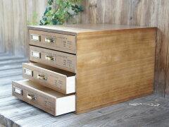 4月下旬発送*4段書類ケース◇A4サイズ収納◇アンティーク調木製書類箱◇日本製
