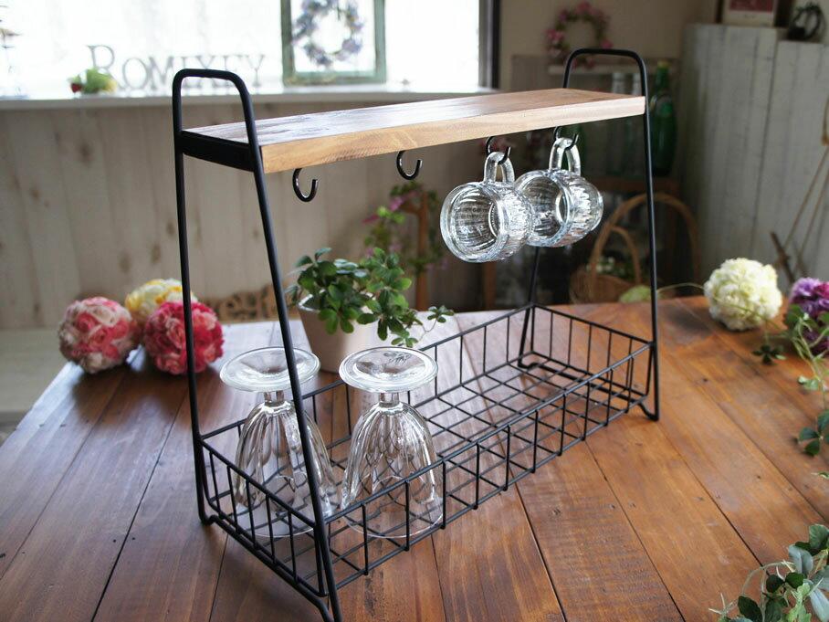 アイアンコップラック キーフックにも 玄関やキッチンの収納に カフェ風お洒落ラック グラスラック ディスプレイ