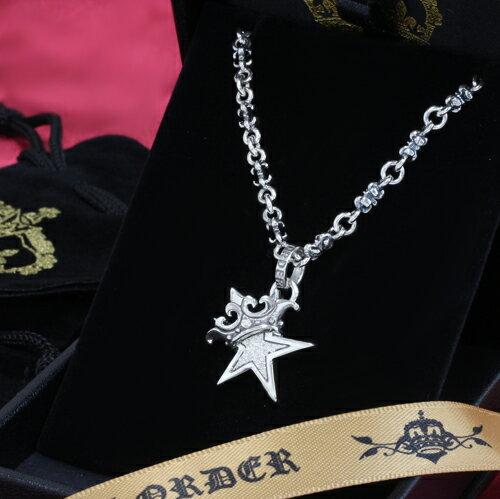 レディースジュエリー・アクセサリー, ネックレス・ペンダント SMALL STAR w CROWN w Paved CZ TINY-C-CHAIN(18inch)ROYAL ORDER