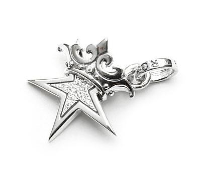 レディースジュエリー・アクセサリー, ペンダントトップ SMALL STAR w CROWN w Paved CZ ROYAL ORDER