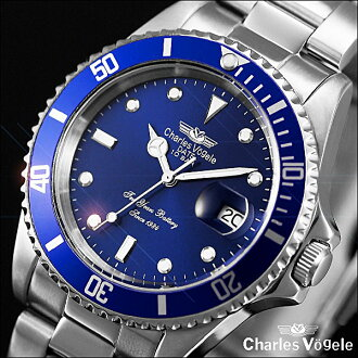 Charles Hagel Charles-Holger /Charles Vogele / analog quartz movement / watch list watch list ( watch ) diver's watch / 10-year battery / 10 ATM water resistant / stainless steel and sapphire blue x stainless steel and silver /CV-7833-5 fs2gm