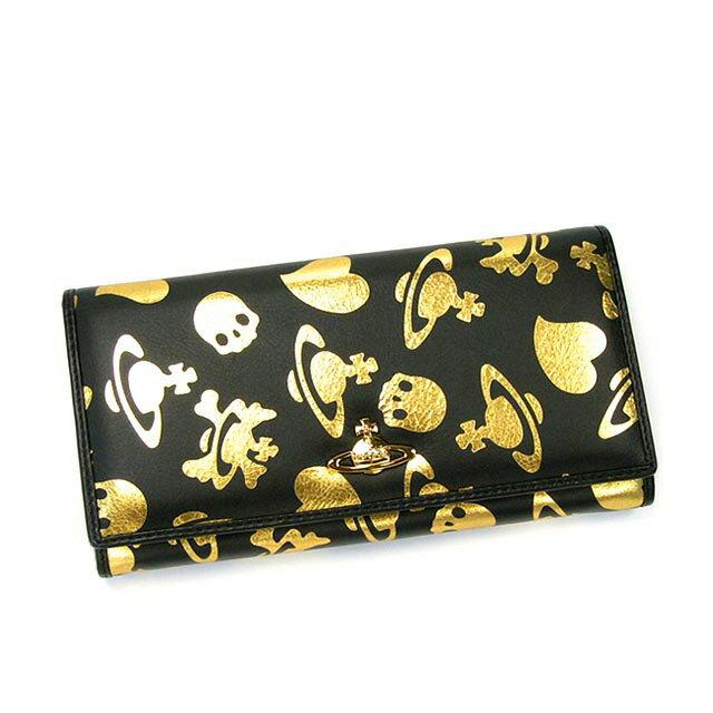 ヴィヴィアンウエストウッド ( Vivienne Westwood ) 財布 ヴィヴィアン・ウエストウッド 財布 サイフ ブランド 新品レディースメンズ 長財布 1032V LOGO PRINT ブラック×ゴールド 二つ折り:サラダボール-夢が届くブランド店