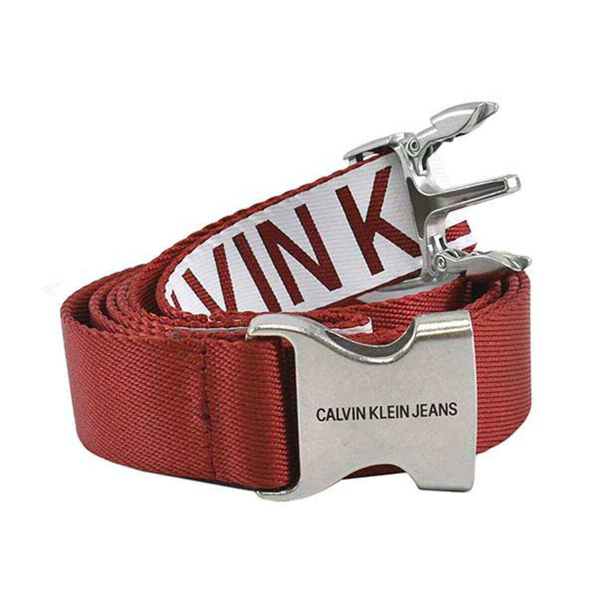 カルバンクラインジーンズ Calvin Klein Jeans CK K60K605422 907 J 3CM CANVAS PLAQUE BELT 100CM バックル式 ベルト WHITE/TOMATO レッド系+ホワイト