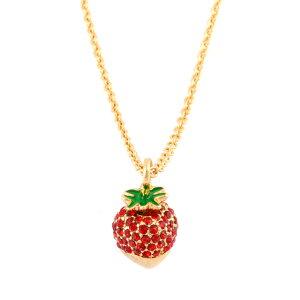 ケイトスペードkatespadeNEWYORKwbrua787-616outsidetheboxstrawberryminipendantチョコがけイチゴモチーフペンダントネックレスレディースブランド正規新作