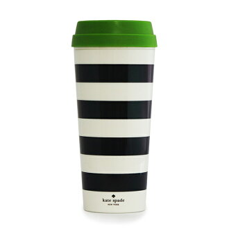 凱特 · 絲蓓紐約凱特鐵鍬紐約不倒翁保溫杯黑色條紋熱杯 16 盎司 143938 白色和黑色條紋 470 毫升全新真正禮品贈品