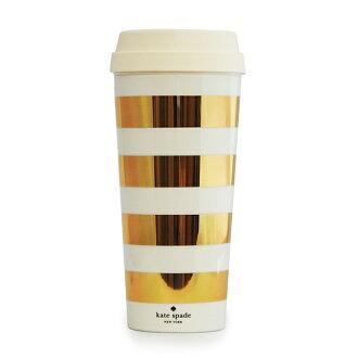 凱特 · 絲蓓凱特 · 絲蓓紐約紐約不倒翁保溫杯黃金條紋熱杯 16 盎司 154757 白色黃金條子 470 毫升全新的真正禮物贈品