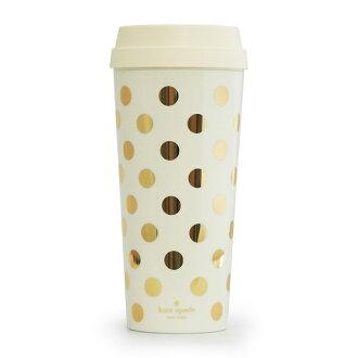 凱特 · 絲蓓凱特 · 絲蓓紐約紐約不倒翁保溫杯黃金點熱杯 16 盎司 165435 白 / 黃金點綴 470 毫升全新的真正禮物贈品